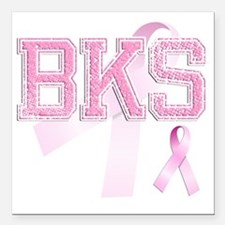 "BKS initials, Pink Ribbo Square Car Magnet 3"" x 3"""