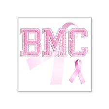 "BMC initials, Pink Ribbon, Square Sticker 3"" x 3"""