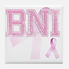 BNI initials, Pink Ribbon, Tile Coaster