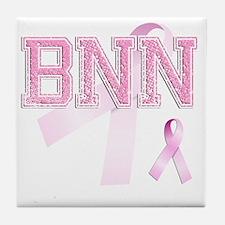 BNN initials, Pink Ribbon, Tile Coaster
