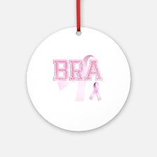 BRA initials, Pink Ribbon, Round Ornament