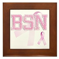 BSN initials, Pink Ribbon, Framed Tile