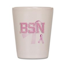 BSN initials, Pink Ribbon, Shot Glass