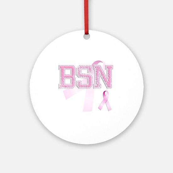 BSN initials, Pink Ribbon, Round Ornament