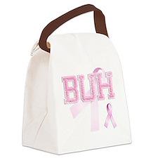 BUH initials, Pink Ribbon, Canvas Lunch Bag
