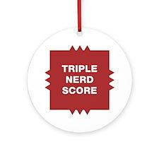 Triple Nerd Score Round Ornament