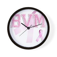 BVM initials, Pink Ribbon, Wall Clock