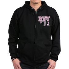 BVT initials, Pink Ribbon, Zip Hoodie