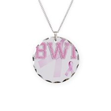 BWI initials, Pink Ribbon, Necklace