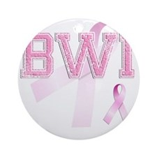 BWI initials, Pink Ribbon, Round Ornament