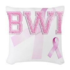 BWI initials, Pink Ribbon, Woven Throw Pillow