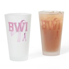 BWI initials, Pink Ribbon, Drinking Glass