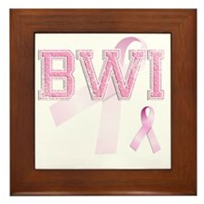 BWI initials, Pink Ribbon, Framed Tile
