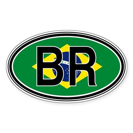 Brazil Euro Oval Sticker