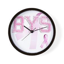 BYS initials, Pink Ribbon, Wall Clock