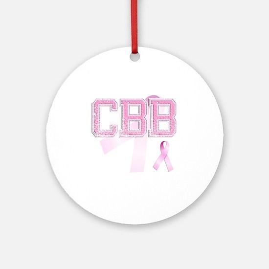 CBB initials, Pink Ribbon, Round Ornament