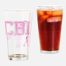 CBI initials, Pink Ribbon, Drinking Glass
