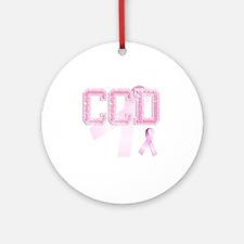 CCD initials, Pink Ribbon, Round Ornament