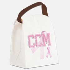 CCM initials, Pink Ribbon, Canvas Lunch Bag