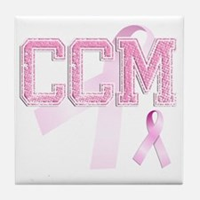 CCM initials, Pink Ribbon, Tile Coaster