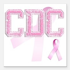 "CDC initials, Pink Ribbo Square Car Magnet 3"" x 3"""