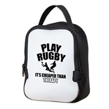 rugby cheaper than therapy Neoprene Lunch Bag