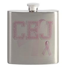 CEJ initials, Pink Ribbon, Flask