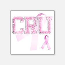 "CRU initials, Pink Ribbon, Square Sticker 3"" x 3"""