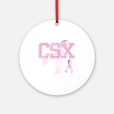 CSX initials, Pink Ribbon, Round Ornament