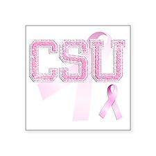 """CSU initials, Pink Ribbon, Square Sticker 3"""" x 3"""""""