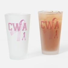 CWA initials, Pink Ribbon, Drinking Glass