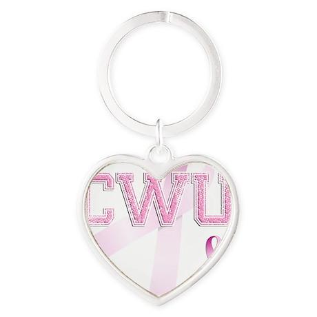 CWU initials, Pink Ribbon, Heart Keychain