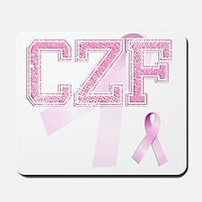 CZF initials, Pink Ribbon, Mousepad