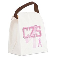 CZS initials, Pink Ribbon, Canvas Lunch Bag