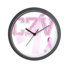 CZV initials, Pink Ribbon, Wall Clock