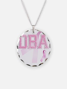 DBA initials, Pink Ribbon, Necklace