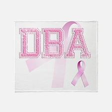DBA initials, Pink Ribbon, Throw Blanket