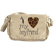I Love My Boyfriend Leopard Print Messenger Bag