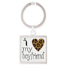 I Love My Boyfriend Leopard Print Square Keychain