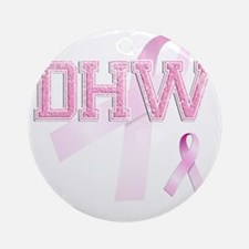 DHW initials, Pink Ribbon, Round Ornament