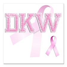 "DKW initials, Pink Ribbo Square Car Magnet 3"" x 3"""