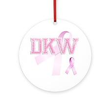 DKW initials, Pink Ribbon, Round Ornament