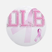 DLB initials, Pink Ribbon, Round Ornament