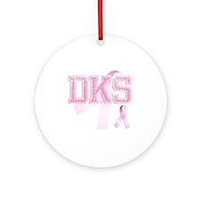 DKS initials, Pink Ribbon, Round Ornament