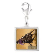 Barrel Racing keychain Silver Square Charm