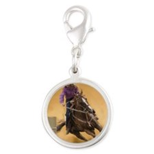 barrel racing pillow Silver Round Charm