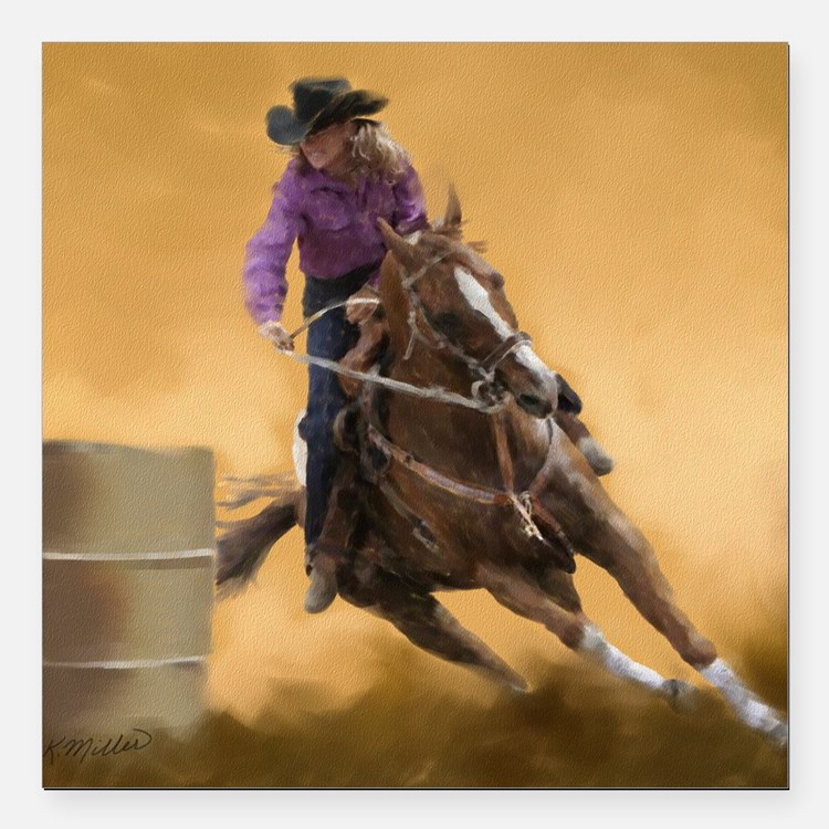 "barrel racing pillow Square Car Magnet 3"" x 3"""