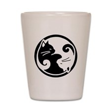 Yin Yang Cat Pet Tag Shot Glass