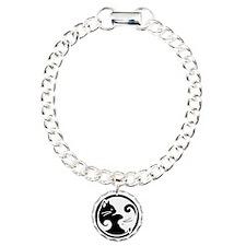 Yin Yang Cat Pet Tag Charm Bracelet, One Charm