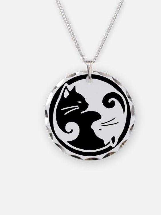 Yin Yang Cat Pet Tag Necklace